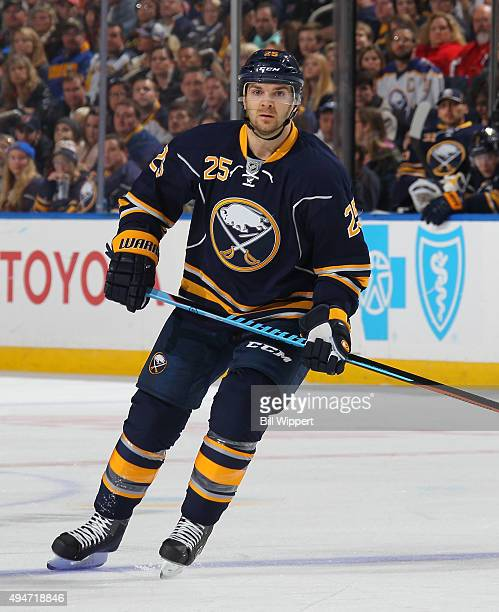 Carlo Colaiacovo of the Buffalo Sabres skates against the New Jersey Devils during an NHL game on October 24 2015 at the First Niagara Center in...