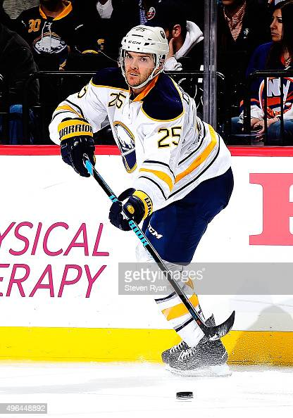 Carlo Colaiacovo of the Buffalo Sabres skates against the New York Islanders at the Barclays Center on November 1 2015 in the Brooklyn borough of New...