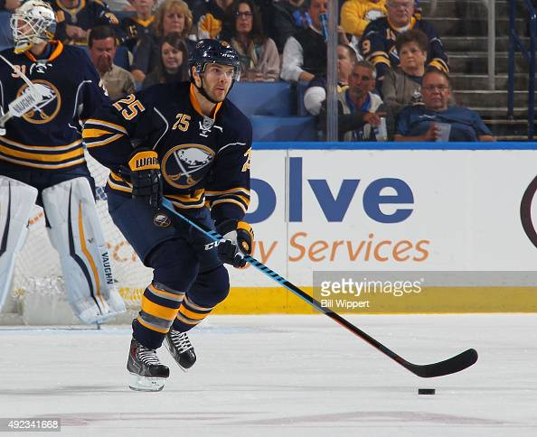 Carlo Colaiacovo of the Buffalo Sabres skates against the Ottawa Senators on October 8 2015 at the First Niagara Center in Buffalo New York
