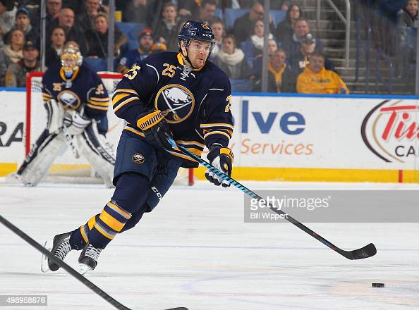 Carlo Colaiacovo of the Buffalo Sabres skates against the St Louis Blues in an NHL game on November 23 2015 at the First Niagara Center in Buffalo...