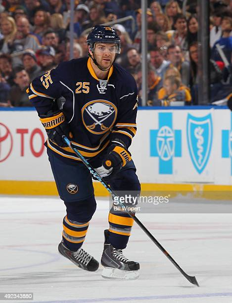 Carlo Colaiacovo of the Buffalo Sabres skates against the Tampa Bay Lightning on October 10 2015 at the First Niagara Center in Buffalo New York