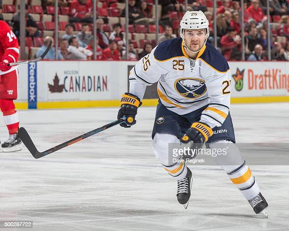 Carlo Colaiacovo of the Buffalo Sabres skates up ice during an NHL game against the Detroit Red Wings at Joe Louis Arena on December 1 2015 in...