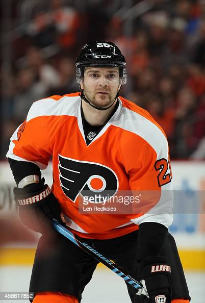 Carlo Colaiacovo of the Philadelphia Flyers looks on against the Florida Panthers on November 6 2014 at the Wells Fargo Center in Philadelphia...