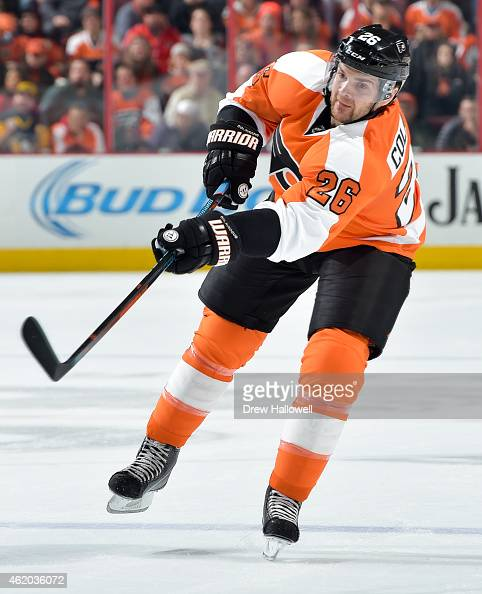 Carlo Colaiacovo of the Philadelphia Flyers passes against the Pittsburgh Penguins at the Wells Fargo Center on January 20 2015 in Philadelphia...