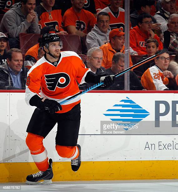 Carlo Colaiacovo of the Philadelphia Flyers skates against the Florida Panthers at the Wells Fargo Center on November 6 2014 in Philadelphia...