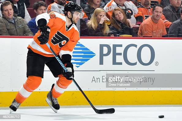 Carlo Colaiacovo of the Philadelphia Flyers skates against the Pittsburgh Penguins at the Wells Fargo Center on January 20 2015 in Philadelphia...