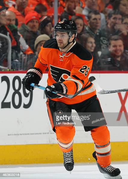 Carlo Colaiacovo of the Philadelphia Flyers skates against the Toronto Maple Leafs on January 31 2015 at the Wells Fargo Center in Philadelphia...