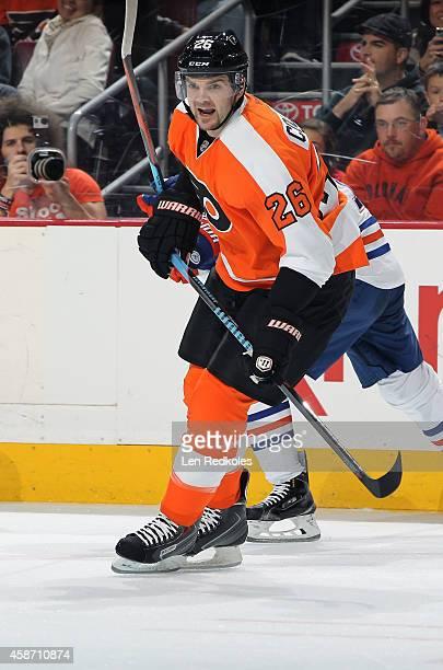 Carlo Colaiacovo of the Philadelphia Flyers skates against the Edmonton Oilers on November 4 2014 at the Wells Fargo Center in Philadelphia...