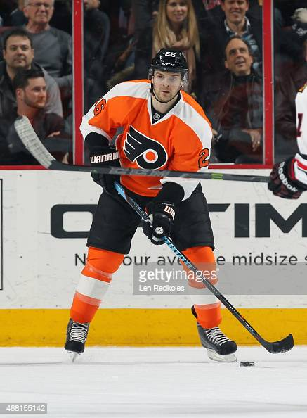 Carlo Colaiacovo of the Philadelphia Flyers skates the puck against the Chicago Blackhawks on March 25 2015 at the Wells Fargo Center in Philadelphia...