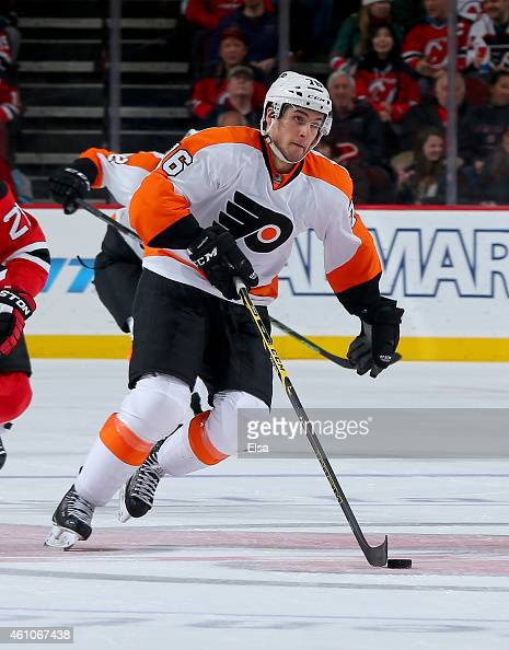 Carlo Colaiacovo of the Philadelphia Flyers takes the puck in the third period against the New Jersey Devils on January 3 2015 at the Prudential...