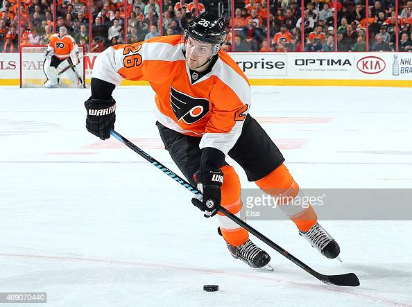 Carlo Colaiacovo of the Philadelphia Flyers takes the puck in the second period against the New York Islanders on April 7 2015 at the Wells Fargo...