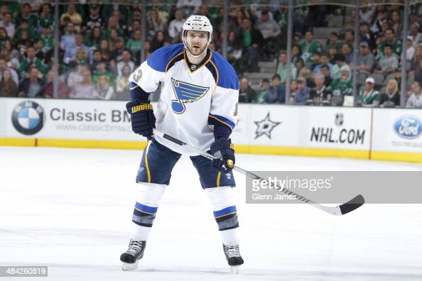 Carlo Colaiacovo of the St Louis Blues skates against the Dallas Stars at the American Airlines Center on April 11 2014 in Dallas Texas