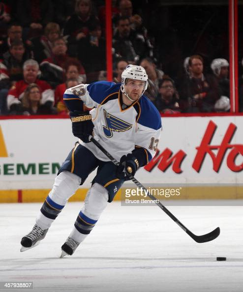 Carlo Colaiacovo of the St Louis Blues skates against the Ottawa Senators at the Canadian Tire Centre on December 16 2013 in Ottawa Canada The...