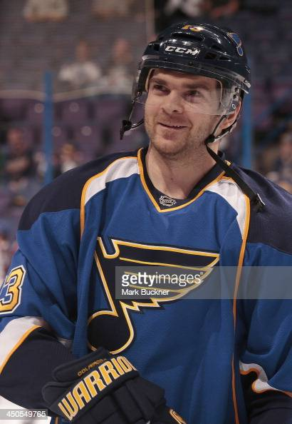 Carlo Colaiacovo of the St Louis Blues warms up before a game against the Colorado Avalanche on November 14 2013 at Scottrade Center in St Louis...