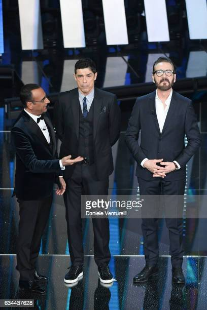 Carlo Conti Alessandro Gassmann and Marco Giallini attend the third night of the 67th Sanremo Festival 2017 at Teatro Ariston on February 9 2017 in...