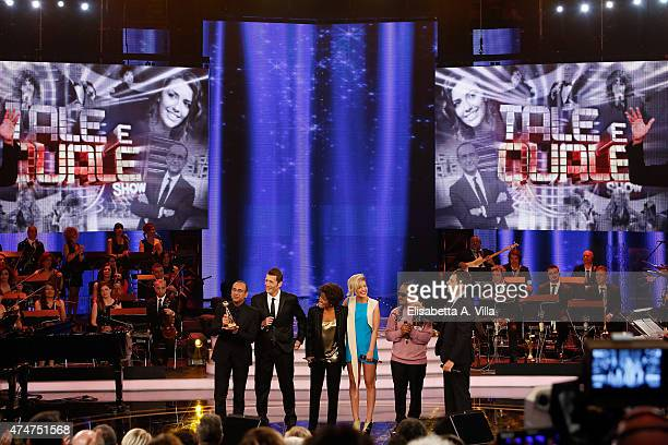 Carlo Conti Alessandro Greco Serena Rossi Roberta Gianrusso and Valerio Scanu receive the Award for the best TV Show 'Tale E Quale' during the PREMIO...