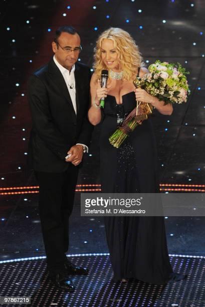 Carlo Conti and Antonella Clerici attend 'Premio TV 2010' Ceremony Award held at Teatro Ariston on March 18 2010 in San Remo Italy