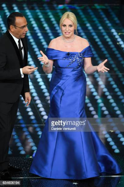 Carlo Conti and Antonella Clerici attend the fourth night of the 67th Sanremo Festival 2017 at Teatro Ariston on February 10 2017 in Sanremo Italy