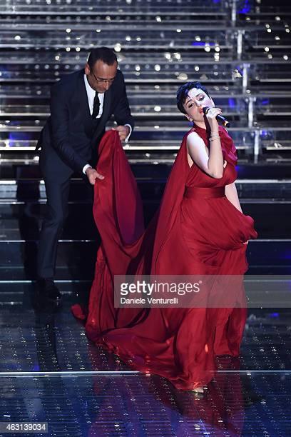 Carlo Conti and Arisa attend the opening night of the 65th Festival di Sanremo 2015 at Teatro Ariston on February 10 2015 in Sanremo Italy