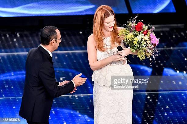 Carlo Conti and Chiara attend the closing night of 65th Festival di Sanremo 2015 at Teatro Ariston on February 14 2015 in Sanremo Italy