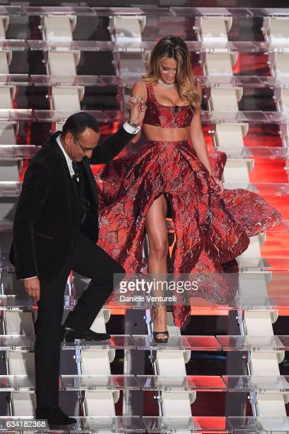Carlo Conti and Diletta Leotta attend the opening night of the 67th Sanremo Festival 2017 at Teatro Ariston on February 7 2017 in Sanremo Italy