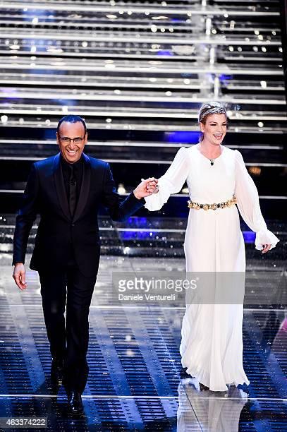 Carlo Conti and Emma attend the Fourth night of 65th Festival di Sanremo 2015 at Teatro Ariston on on February 13 2015 in Sanremo Italy
