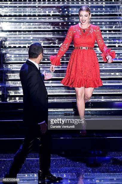 Carlo Conti and Emma Marrone attend second night 65th Festival di Sanremo 2015 at Teatro Ariston on February 11 2015 in Sanremo Italy