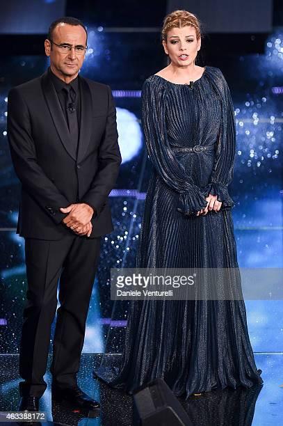 Carlo Conti and Emma Marrone attend the Fourth night of 65th Festival di Sanremo 2015 at Teatro Ariston on on February 13 2015 in Sanremo Italy