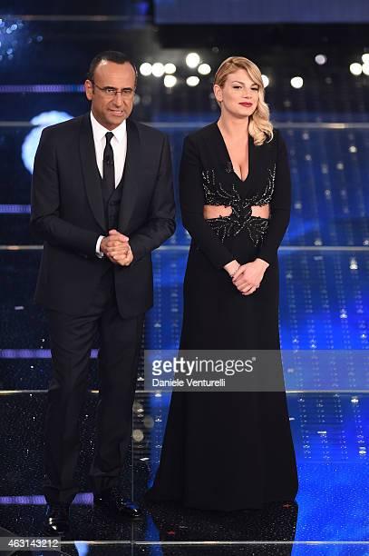 Carlo Conti and Emma Marrone attend the opening night of the 65th Festival di Sanremo 2015 at Teatro Ariston on February 10 2015 in Sanremo Italy