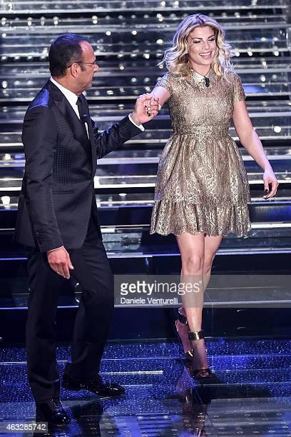 Carlo Conti and Emma Marrone attend the thirth night of 65th Festival di Sanremo 2015 at Teatro Ariston on February 12 2015 in Sanremo Italy