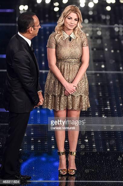 Carlo Conti and Emma Marrone attend the thirth night of 65th Festival di Sanremo on February 12 2015 in Sanremo Italy