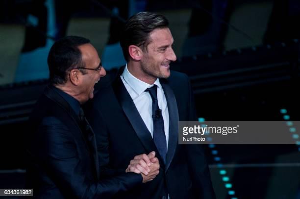 Carlo Conti and Francesco Totti attend 67 Sanremo Festival at Teatro Ariston on February 8 2017 in Sanremo Italy