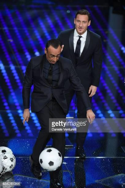Carlo Conti and Francesco Totti attend the second night of the 67th Sanremo Festival 2017 at Teatro Ariston on February 8 2017 in Sanremo Italy