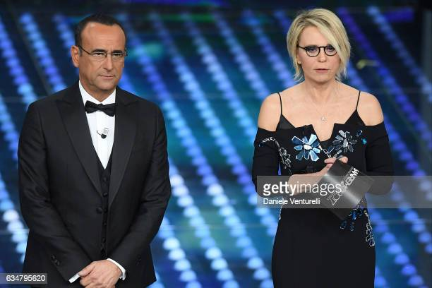 Carlo Conti and Maria De Filippi attend the closing night of 67th Sanremo Festival 2017 at Teatro Ariston on February 11 2017 in Sanremo Italy