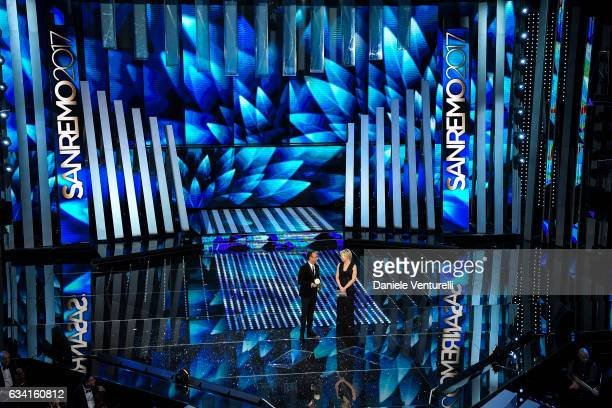 Carlo Conti and Maria De Filippi attend the opening night of the 67th Sanremo Festival 2017 at Teatro Ariston on February 7 2017 in Sanremo Italy
