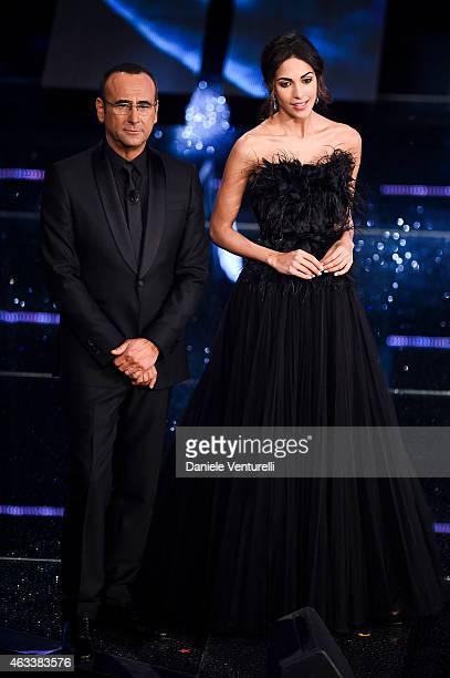 Carlo Conti and Rocio Munoz Morales attend the Fourth night of 65th Festival di Sanremo 2015 at Teatro Ariston on on February 13 2015 in Sanremo Italy
