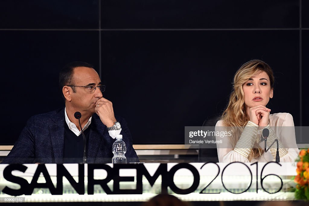 <a gi-track='captionPersonalityLinkClicked' href=/galleries/search?phrase=Carlo+Conti&family=editorial&specificpeople=4496663 ng-click='$event.stopPropagation()'>Carlo Conti</a> and Virginia Raffaele attend a photocall for 66. Sanremo Festival on February 8, 2016 in Sanremo, Italy.