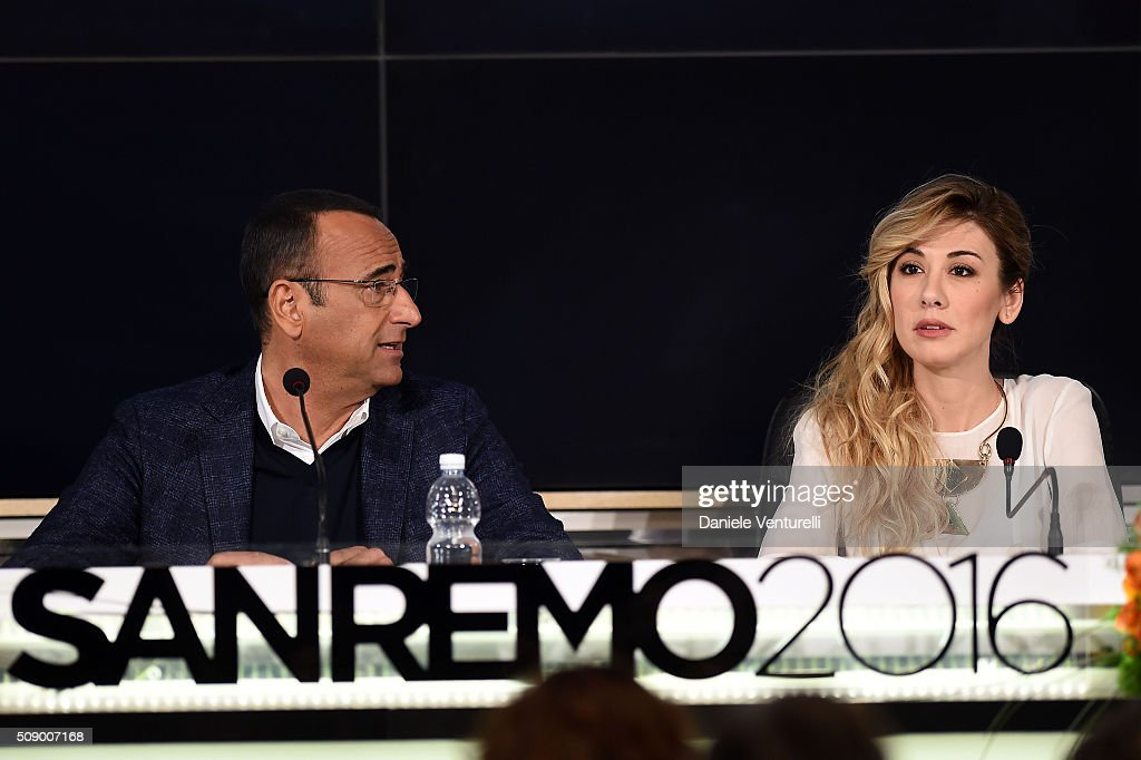 Carlo Conti and Virginia Raffaele attend a photocall for 66. Sanremo Festival on February 8, 2016 in Sanremo, Italy.