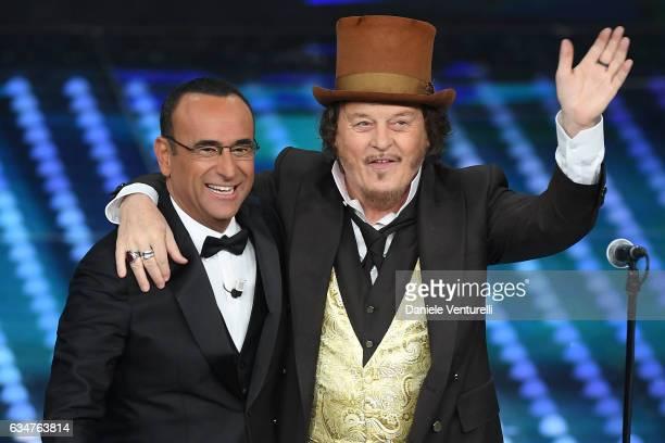 Carlo Conti and Zucchero attend the closing night of 67th Sanremo Festival 2017 at Teatro Ariston on February 11 2017 in Sanremo Italy