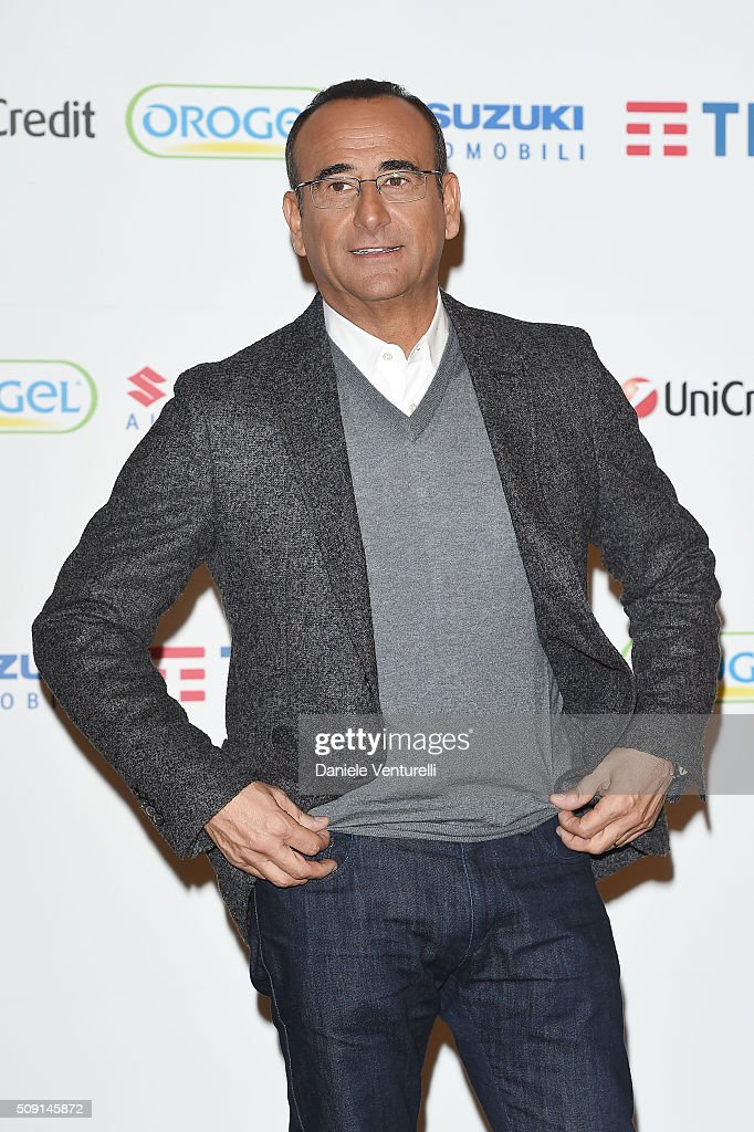 <a gi-track='captionPersonalityLinkClicked' href=/galleries/search?phrase=Carlo+Conti&family=editorial&specificpeople=4496663 ng-click='$event.stopPropagation()'>Carlo Conti</a> attends a photocall at 66. Sanremo Festival at Teatro Ariston on February 9, 2016 in Sanremo, Italy.