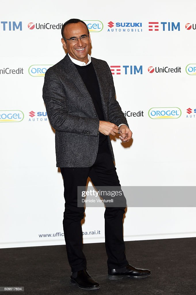 <a gi-track='captionPersonalityLinkClicked' href=/galleries/search?phrase=Carlo+Conti&family=editorial&specificpeople=4496663 ng-click='$event.stopPropagation()'>Carlo Conti</a> attends a photocall at 66. Sanremo Festival on February 11, 2016 in Sanremo, Italy.
