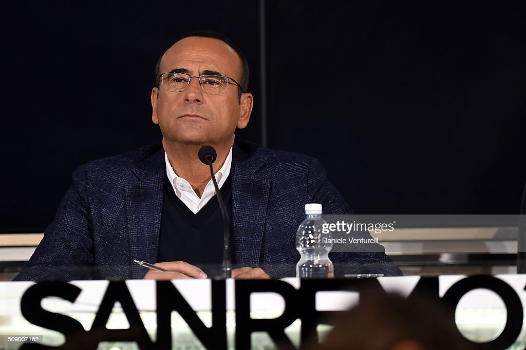<a gi-track='captionPersonalityLinkClicked' href=/galleries/search?phrase=Carlo+Conti&family=editorial&specificpeople=4496663 ng-click='$event.stopPropagation()'>Carlo Conti</a> attends a photocall for 66. Sanremo Festival on February 8, 2016 in Sanremo, Italy.