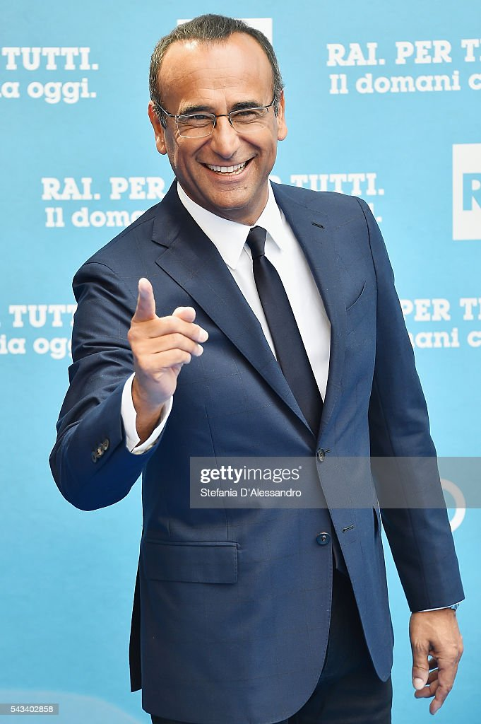 <a gi-track='captionPersonalityLinkClicked' href=/galleries/search?phrase=Carlo+Conti&family=editorial&specificpeople=4496663 ng-click='$event.stopPropagation()'>Carlo Conti</a> attends Rai Show Schedule Presentation In Milan on June 28, 2016 in Milan, Italy.