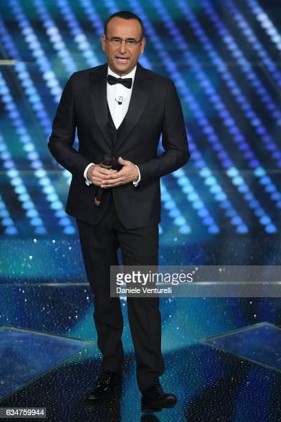 Carlo Conti attends the closing night of 67th Sanremo Festival 2017 at Teatro Ariston on February 11 2017 in Sanremo Italy