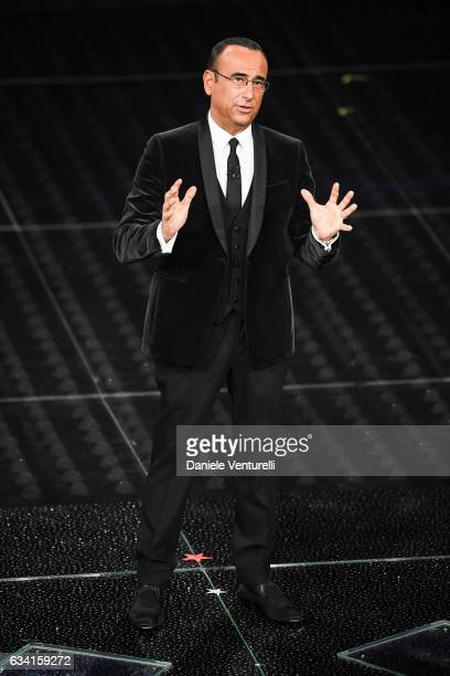 Carlo Conti attends the opening night of the 67th Sanremo Festival 2017 at Teatro Ariston on February 7 2017 in Sanremo Italy