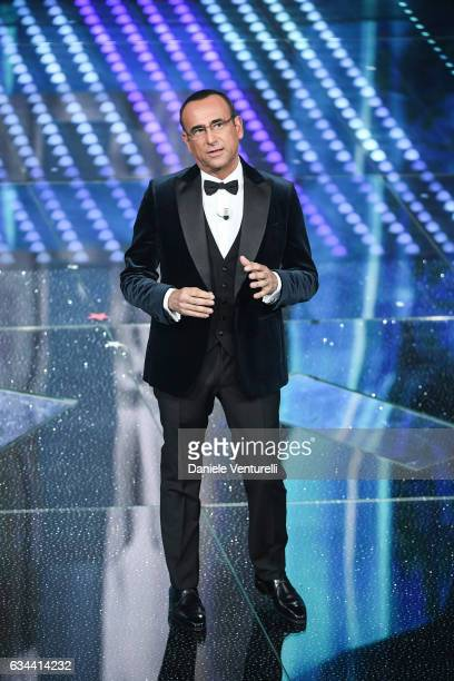 Carlo Conti attends the third night of the 67th Sanremo Festival 2017 at Teatro Ariston on February 9 2017 in Sanremo Italy