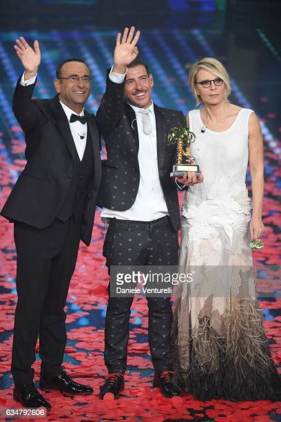 Carlo Conti Francesco Gabbani and Maria De Filippi attend the closing night of 67th Sanremo Festival 2017 at Teatro Ariston on February 11 2017 in...