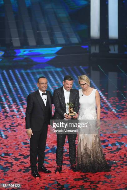 Carlo Conti Francesco Gabbani and Maria De Filippi attend the closing night of 67th Sanremo Festival 2017 at Teatro Ariston on February 11 2017 in...
