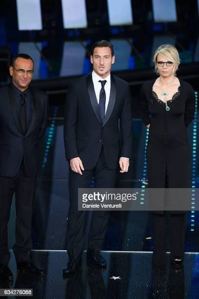 Carlo Conti Francesco Totti Maria De Filippi attend the second night of the 67th Sanremo Festival 2017 at Teatro Ariston on February 8 2017 in...