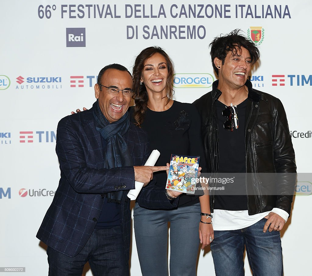 <a gi-track='captionPersonalityLinkClicked' href=/galleries/search?phrase=Carlo+Conti&family=editorial&specificpeople=4496663 ng-click='$event.stopPropagation()'>Carlo Conti</a>, Madalina Ghenea and <a gi-track='captionPersonalityLinkClicked' href=/galleries/search?phrase=Gabriel+Garko&family=editorial&specificpeople=4811088 ng-click='$event.stopPropagation()'>Gabriel Garko</a> attend a photocall at 66. Sanremo Festival on February 10, 2016 in Sanremo, Italy.
